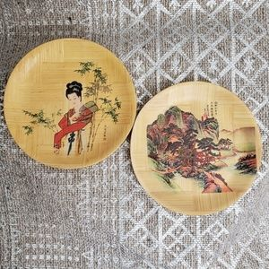 Pair of Vintage Chinese Bamboo Decorative Plates